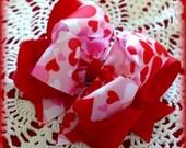 Valentine Camo Bow...Valentine Hair Bow...Hearts Camo Bow...Valentine Bow...Red and Pink Hair Bow...Girls Valentine Bow