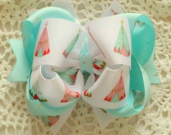 TeePee Hair Bow...Aqua and Gold Hair Bow...Coral and Gold Hair Bow...TeePee Bow....TeePee Tent Bow