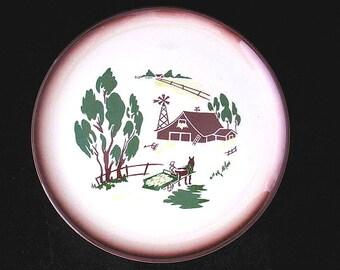 Brock of California Harvest Dinner Plate with Brown Trim Vintage 1950s Brockware