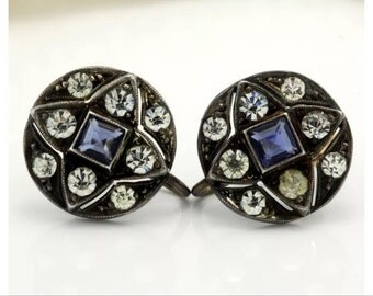 Victorian Art Nouveau Deco 1920s 14K Sterling Diamond And Sapphire Paste Earrings Screw Back Round Milgrain Geometric