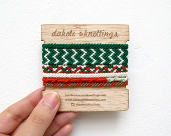 CLEARANCE SALE Friendship Bracelet Set, Woven Bracelet, Braided Bracelet, Christmas Gifts, Stocking Stuffer, Christmas Bracelet