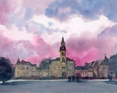 """Anderson Hall K-State U Limited Edition 200 hand signed giclee print Kansas State University 8x10"""" print of watercolor college art print"""