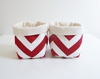 Red & White Fabric Storage Basket Organizers in Chevron/ Zig Zag - Gift Baskets  - Set of 2 Small