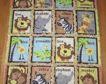 Zoo / Jungle Baby Rag Quilt Elephant Crocodile Zebra Monkey Giraffe Quilt