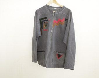 90s SOUTHWEST vintage sweatshirt cardigan IKAT sweater
