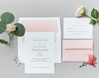 wedding invitation suite the elizabeth collection classic wedding invitations traditional wedding invitations - Blush Wedding Invitations