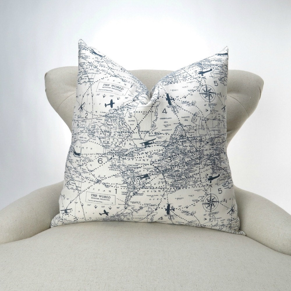 Decorative Airplane Pillow : Aviation Pillow Cover MANY SIZES Navy Airplane Decorative