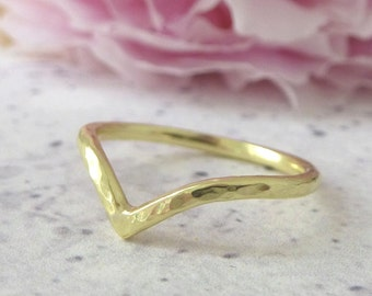 Gold Wishbone Wedding Ring - 18ct Gold Wishbone Ring - Gold Wedding Ring - Gold Wishbone Ring