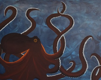 Abstract Art Acrylic Octopus Painting on Canvas