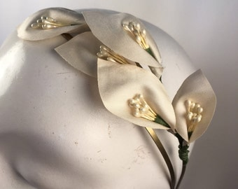 Champagne Ivory & Pearl Bridal Lily Headband with a Brass Finish