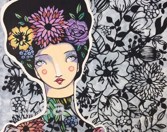 SECRET GARDEN ORIGINAL artwork mixed media portrait painting floral flowers colorful art women in art