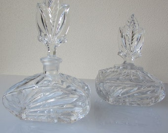 Set of Vintage Glass Bottles/ Perfume Bottle/ Jewelry Box