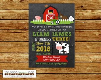 Farm Invitation | Farm Birthday Party | Farm Party | Farm Birthday Invitation for Boys | Farm Birthday Invites | Barn Invitation