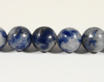 "Sodalite Gemstone Beads 6mm Round White and Blue Stone Beads, Natural Gemstone Beads for Jewelry Making on a 7 1/2"" Strand with 31 Beads"