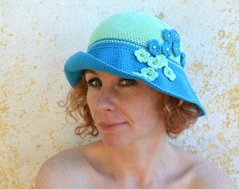 Crochet sun hat, summer wide brim hat, cotton cloche, blue and green