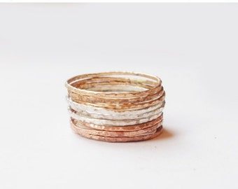 Valentines Day Gift Sale Set of 9 Tri Color Stacking Rings - Sterling Silver, 14K Rose Gold Filled, and 14K Gold Filled - Mixed Metal