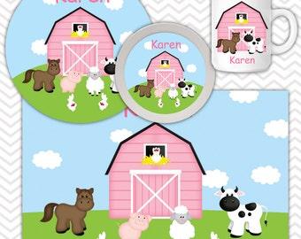 Barn Yard Pink Plate, Bowl Mug  Set - Personalized Barn Yard Plate Set - Customized Plate, Bowl, Mug - Melamine Plate, Bowl & Set for Kids