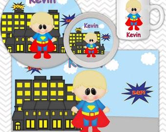 Superman Plate Bowl Mug Set - Personalized Superman Plate Set - Customized Plate, Bowl, Mug - Melamine Plate, Bowl & Set for Kids