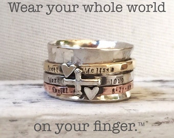 Family Spinner Ring Personalized Customizable Mothers Ring Wear Your Whole World on Your Finger by ShesSoWitte