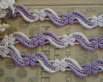 1y Vintage Schiffli Purple White Daisy Flower Lace Embroidered Garland Trim Edging French Doll Dress Crazy Quilt Ribbon Novelty Sewing
