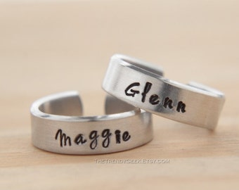 Maggie and Glenn Hand Stamped Aluminum Adjustable Rings, The Walking Dead Inspired
