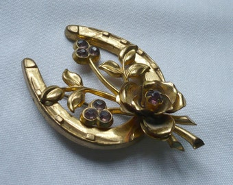 1940s-Pressed Metal Horseshoe Brooch with flowers and Purple RS