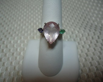Pear Cut Rose Quartz with Emeralds and Iolites Ring in Sterling Silver 1819