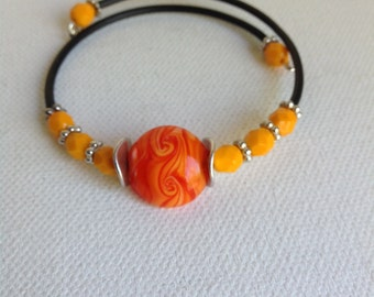 Beaded Wire Bracelet, ORANGE Bracelet, Small Beads and Spacers