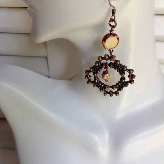 Earrings, Boho, Piicasa, Copper Earrings
