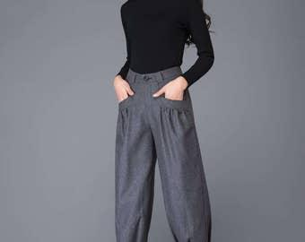 grey pant- wool pant- winter pant- warm pant- loose pant- womens pants- handmade womens pant     C999