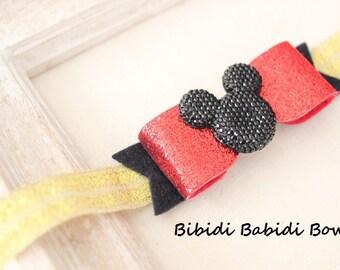 Mickey mouse headband- Baby girl headband- Toddler headband- Disney headband- Hair accessory-  headband-Glitter bow- Photo prop-