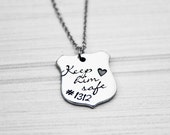 Keep Him Safe Police Shield Necklace - Hand Stamped Mommy Jewelry - Stainless Steel -  Personalized Mom, Grandma, Daughter, Sister Gift