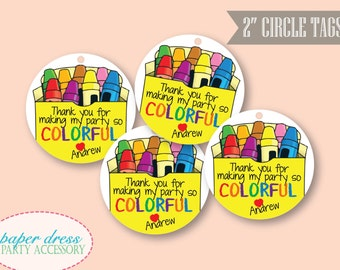 """Personalized Crayon Art Coloring Theme Thank You Birthday Tags - 2"""" Circles - Set of 20"""