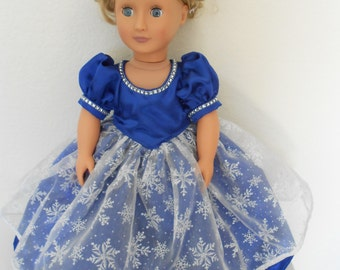 Blue glittery snowflake dres for American Girl and 18 inch Dolls