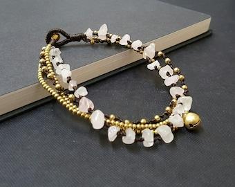 Chip Rose Quartz Brass Chain Anklet
