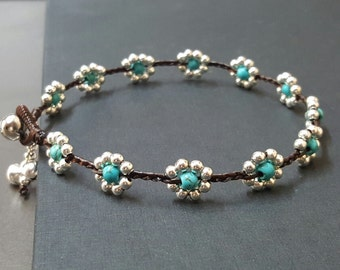 Silver Turquoise Flower  Anklet
