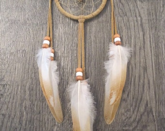 Dream Catcher Buckskin Suede with Rooster Wing Feathers ~ Cruelty Free