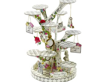 Alice in wonderland cupcake stand ~ cake stand ~ mad hatter tea party, garden decor ~ party decor ~ white rabbit, invite, Ready to ship