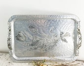 ON SALE Large Vintage Hammered Aluminum Tray with Tulips