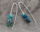 Silver Threader Earrings, Wire Earrings, Chrysocolla Earrings, Pull Through Earrings, Wishbone Earrings,  Turquoise Colored Earrings