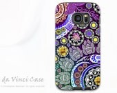 Purple Paisley Case for Samsung Galaxy S7 EDGE - Premium Dual Layer Galaxy S 7 EDGE Case with Indian Floral Art - Mehndi Garden