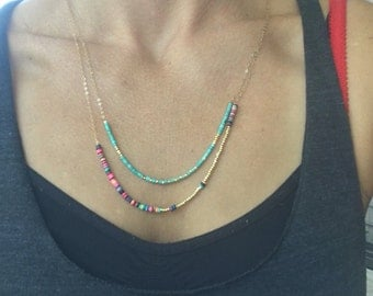 Turquoise and african bead necklaces