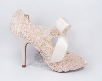 Blush Pink wedding shoes, blush wedding shoes, lace wedding shoes, lace blush shoes,  Vintage Peep Toe Shoes, vintage blush - Eliza Lilly