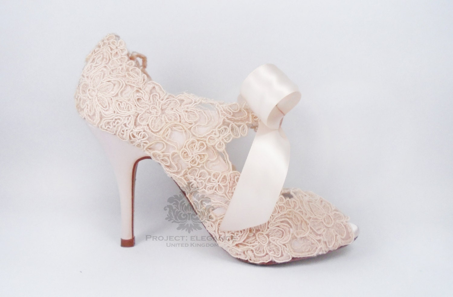 Blush Pink Wedding Shoes Lace Vintage Peep Toe