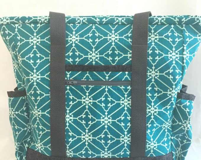 Large Tote Bag with Pockets, Teacher Tote, Work Tote, Teal Nurse Tote Kitchen Sink Tote, Professional Tote, Carry On