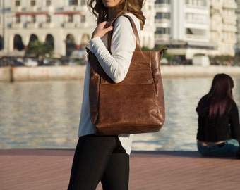 Brown convertible backpack - Laptop tote - Laptop Backpack -  ARTE