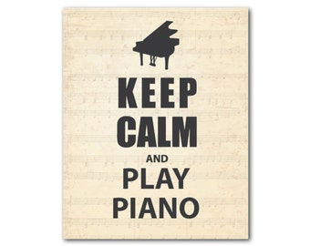 Wall Art - Keep Calm and Play Piano - Word Art - Music - Typography Print - Vintage Sheet Music Background - Gift for Piano Teacher