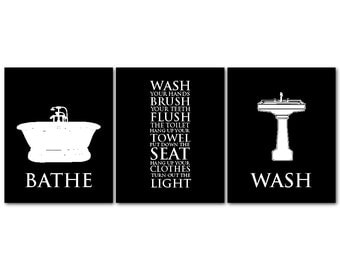 Bathroom Wall Art Trio - Bathroom Rules - Bathe Wash Flush Typography Art Print - Vintage Bathroom Wall Decor - you choose colors