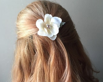 Flower blossom hair clip in toasted almond