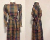 ON SALE 1980s Fall Colors Plaid Dress